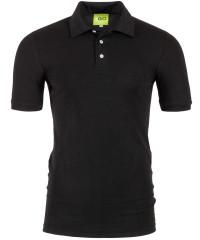 Poloshirt in Schwarz - Kragen und Bund in Piqué-Stoff