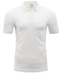 Poloshirt in Weiß mit gestricktem Kragen und Bund