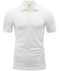 Poloshirt in Weiß - Kragen und Bund in Piqué-Stoff