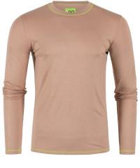 T-Shirt Langarm in Braun mit Rundkragen
