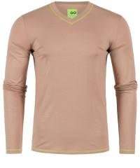 T-Shirt Langarm in Braun mit V-Ausschnitt