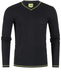 T-Shirt Langarm in Schwarz mit V-Ausschnitt