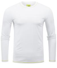 T-Shirt Langarm in Weiß mit Rundkragen