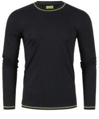 T-Shirt Langarm in Schwarz mit Rundkragen