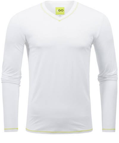 T-Shirt Langarm in Weiß mit V-Ausschnitt