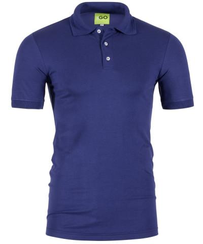 Poloshirt in Blau mit gestricktem Kragen und Bund