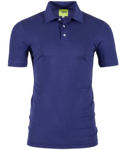 Poloshirt in Blau - Kragen und Bund in Piqué-Stoff