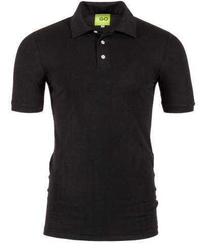 Poloshirt in Schwarz mit gestricktem Kragen und Bund